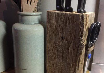 oud eiken messenblok