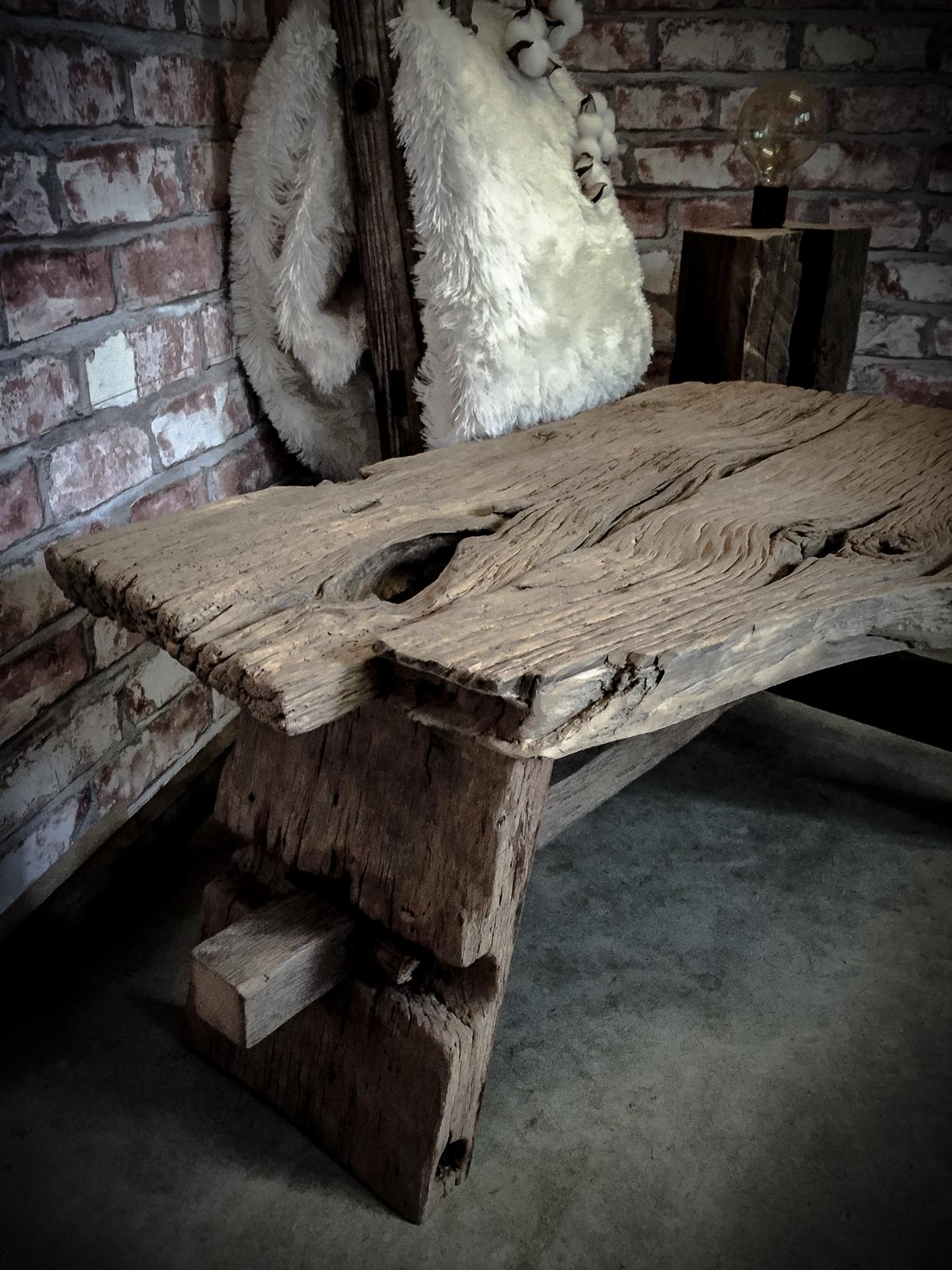 oud eiken salontafel op ambachtelijk vervaardigd   www moodswood com